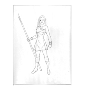 Woman Warrior Sketch Before